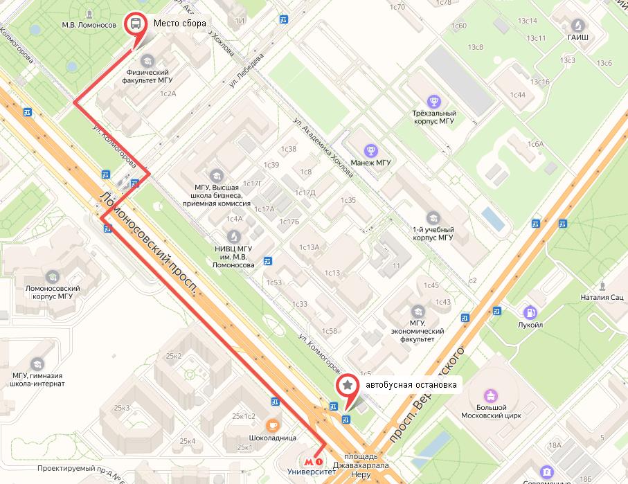 Карта прохода к Физическому факультету